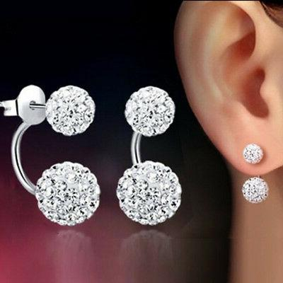 1 Pair Women Lady Jewelry Silver Double Beaded Rhinestone Cr