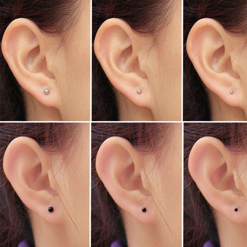 Surgical Earring Screwback Round Double Ball