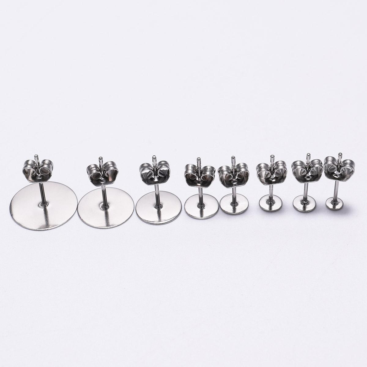 100pcs/lot 3 4 6 8 12mm Stainless <font><b>Earring</b></font> Pins With <font><b>Earring</b></font> For