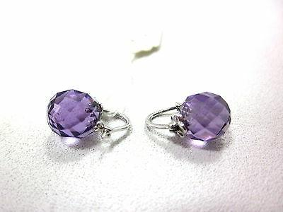 10k white gold beads amethyst earrings 9x9mm