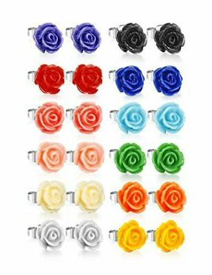 LOYALLOOK Pairs Colors Resin Earring Studs Set