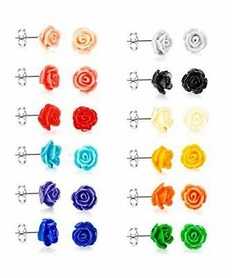 LOYALLOOK Pairs Colors Rose Flower Earring