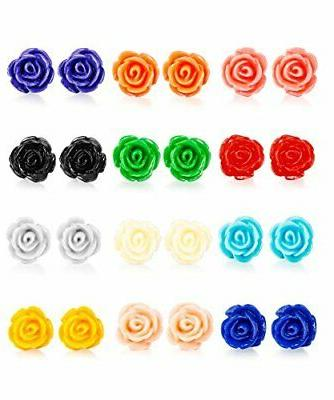 12 pairs assorted colors resin rose flower