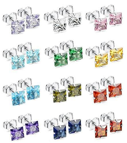 12pairs stainless steel square cz ear piercing