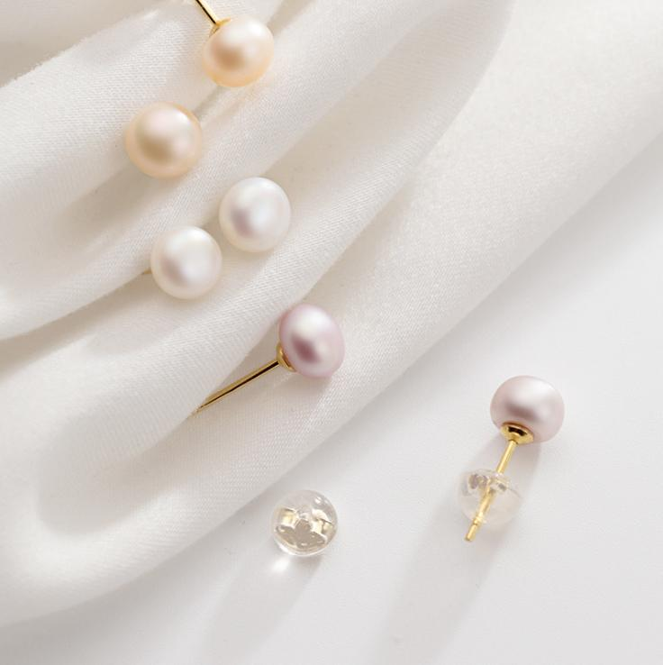 14K Pearl Button 925 Sterling