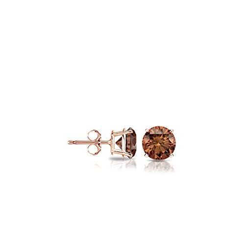 14k rose gold round brown diamond stud