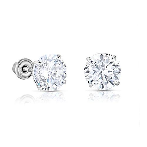 14k white gold solitaire round cubic zirconia