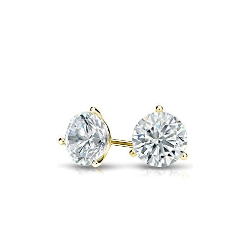 Diamond Gold Round Earrings set with Push-Back