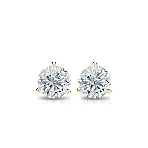 Diamond 14k Yellow Gold Round Diamond Stud Earrings with Push-Back