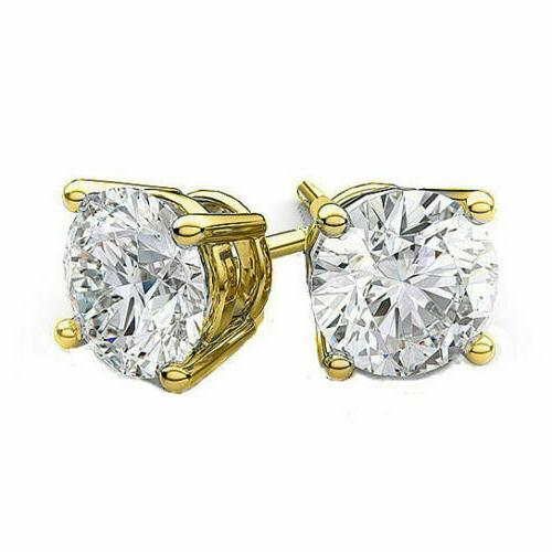 14kt Solid Gold Super Bright Clear CZ Studs Earrings Round SIZES
