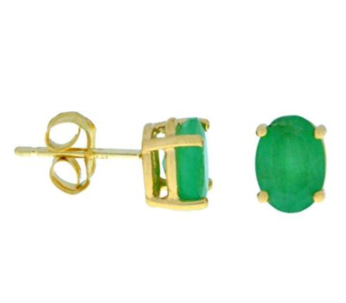 14kt yellow gold genuine emerald oval 7x5mm