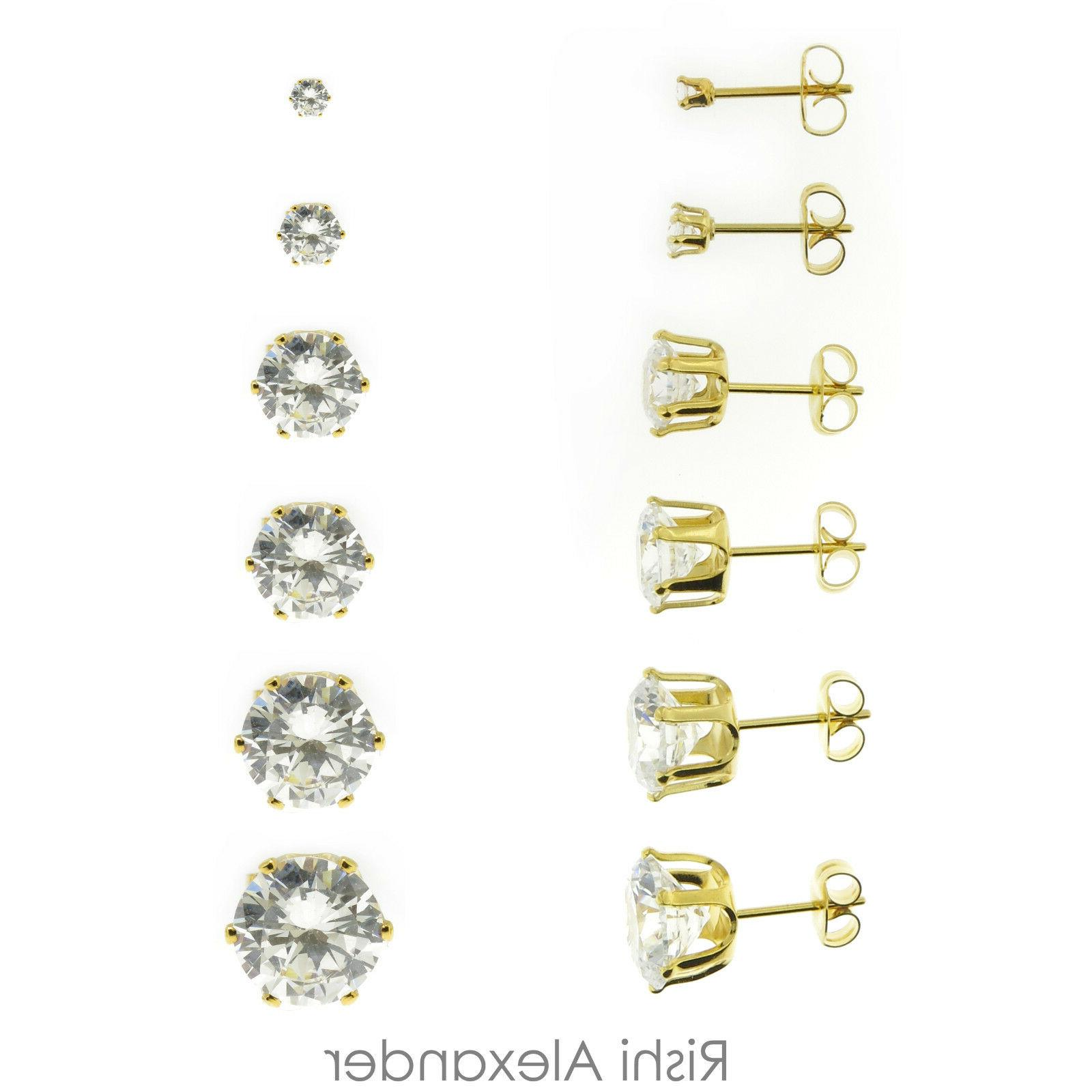 18k gold filled round cubic zirconia clear