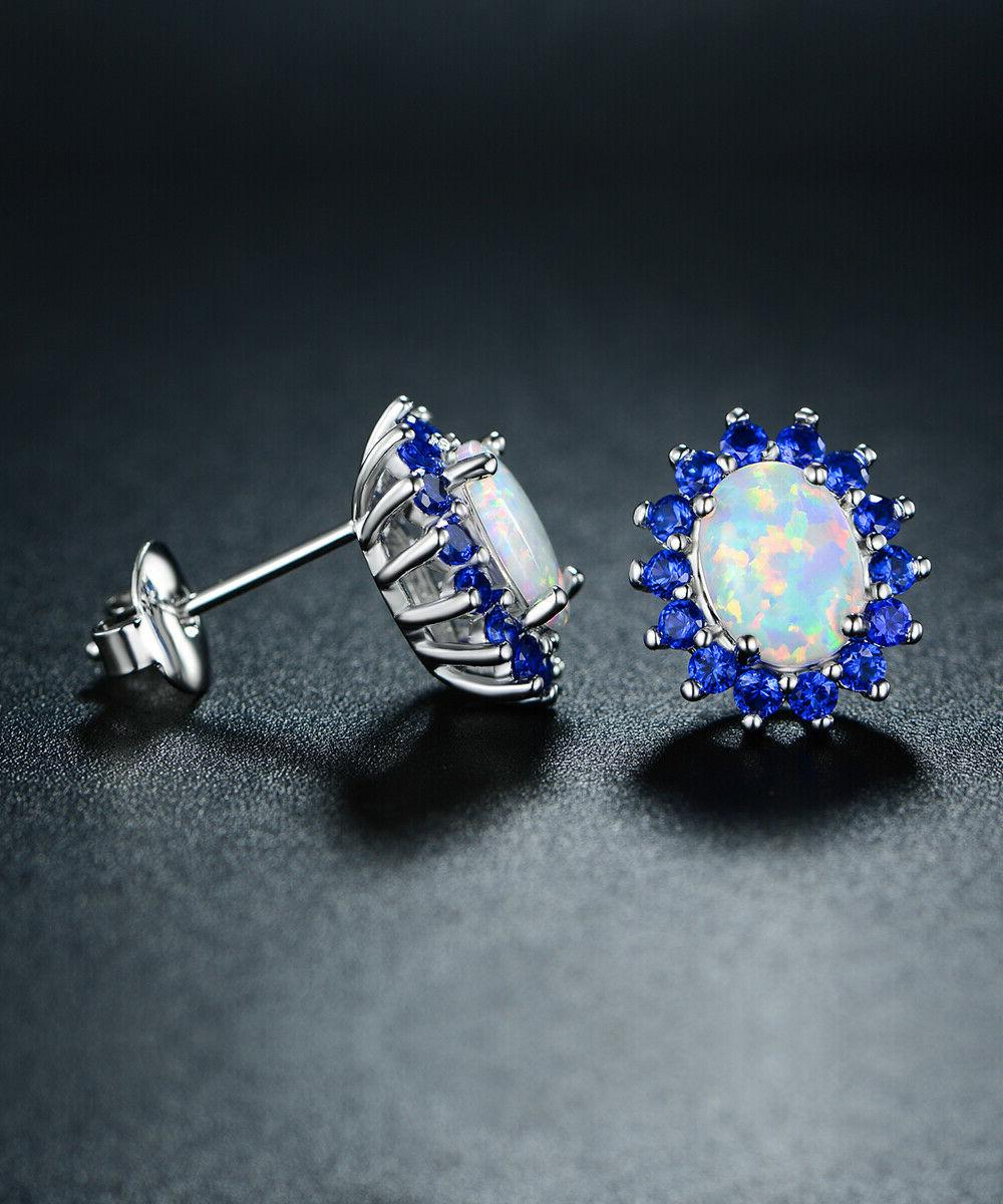 18k white gold plated created opal