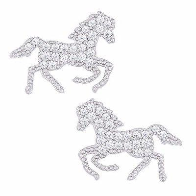 18k white gold plated cubic zirconia horse
