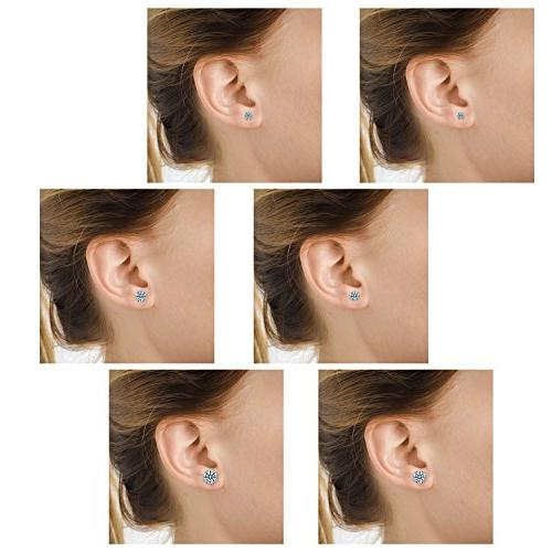 Anni Coco 18K Gold Plated Stainless Steel Brilliant Cut Round CZ Stud 4-9mm 6