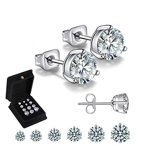 18k white gold plated stainless steel brilliant