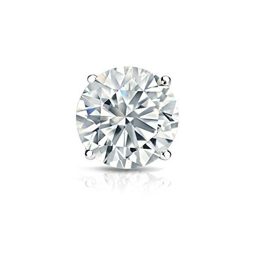 18k white gold single stud round diamond