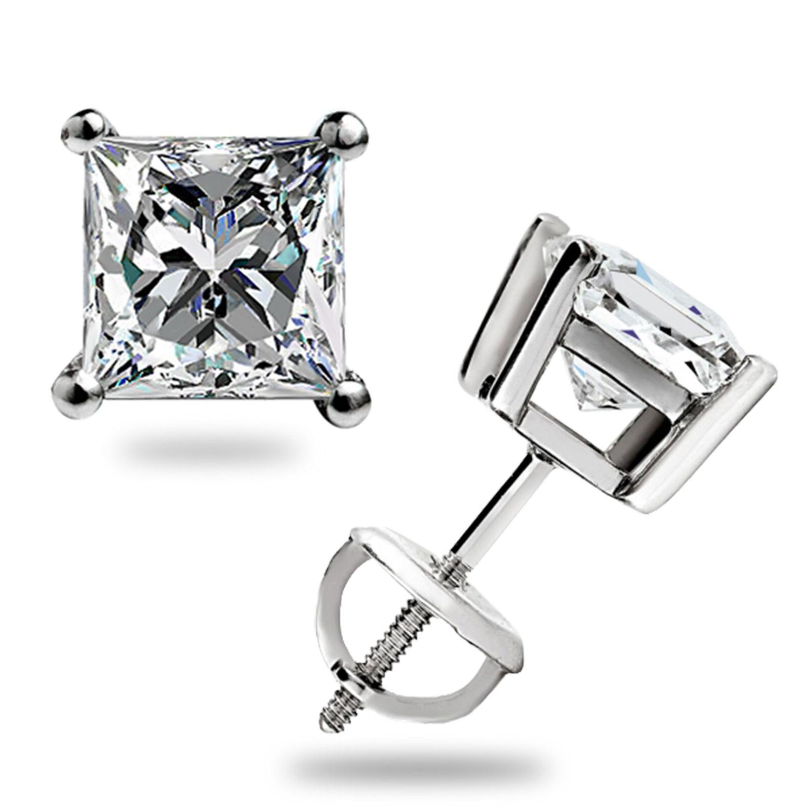 2 ct Princess Cut Solitaire Stud Earrings Solid 14k White Go