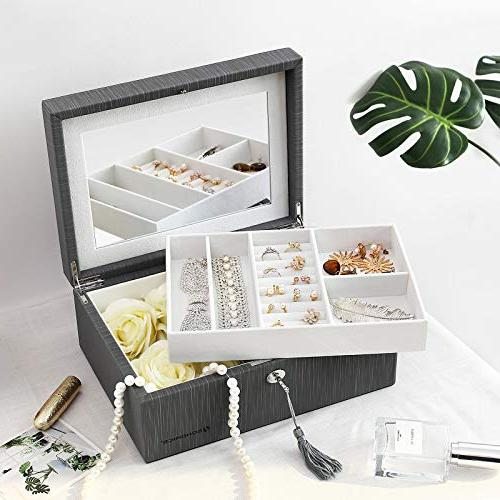 SONGMICS 2-Layer Jewelry Flip-Over Mirror, Gift for Gray