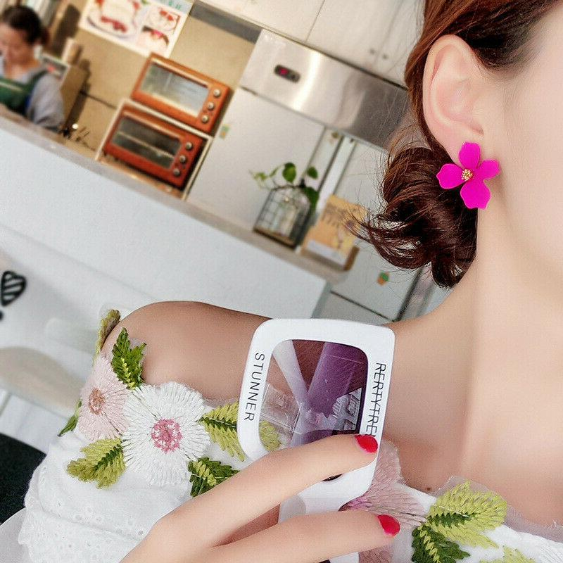 2019 Painting Flowers Stud Earrings Women Jewelry