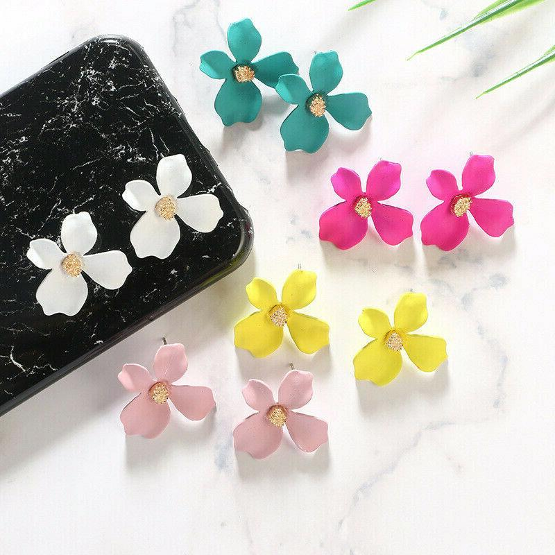 2019 Painting Big Flowers Stud Women Jewelry