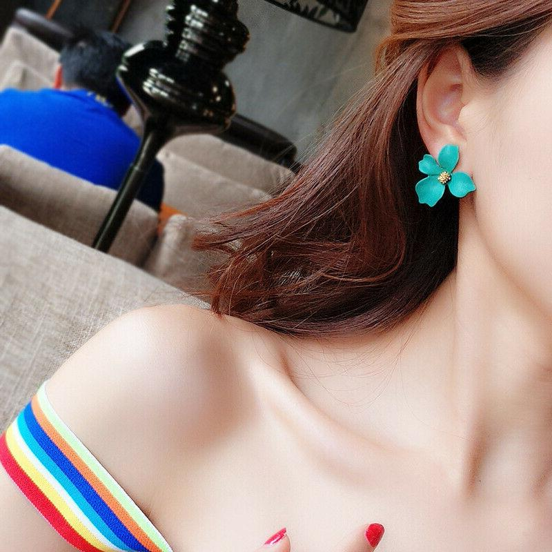 2019 New Fashion Painting Big Flowers Ear Stud Earrings Women Jewelry