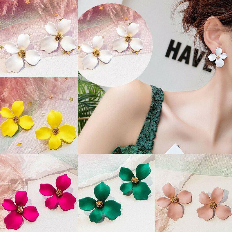 2019 New Fashion Painting Flowers Ear Stud Women Charm Jewelry