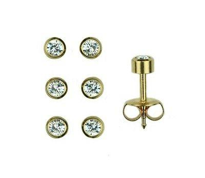 3prs 24K Gold Over Surgical Stainless Ear Piercing  April RD