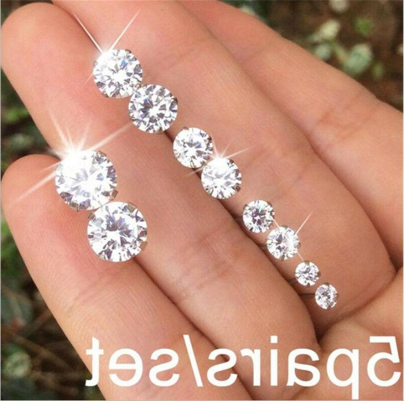 5Pairs Simple Women's Claws Crystal Zircon Inlaid Ear Stud E