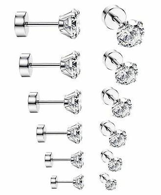 6 8 pairs 18g stainless steel ear
