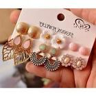 6 Pairs /set Women's Fashion Vintage Stud Earring Leaf/Flowe