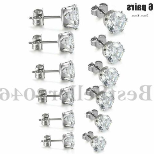 6pairs stainless steel cubic zirconia round cut