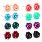 8 pairs stainless steel synthetic turquoise rose