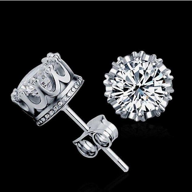 6/8/10mm Women Silver Post Cubic Zirconia Earrings