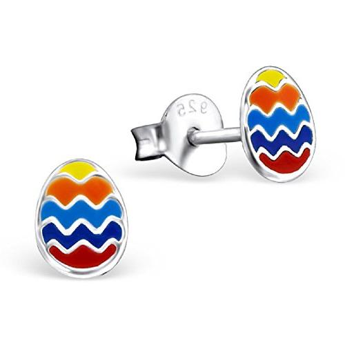 925 Sterling Silver Colorful Easter Egg Stud Earrings 21710