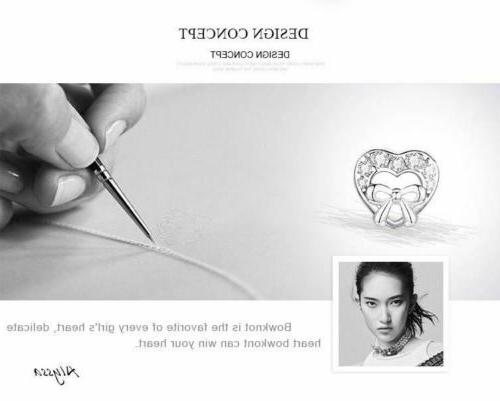 925 Sterling Silver Bowknot Heart Shape Earrings. Day Delivery