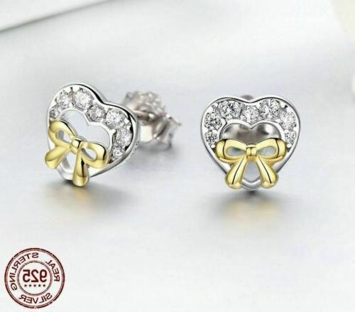 925 Sterling Silver Bowknot Heart Shape Earrings. To Day Delivery