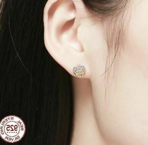 925 Sterling Silver Heart CZ Stud Earrings. Day Delivery