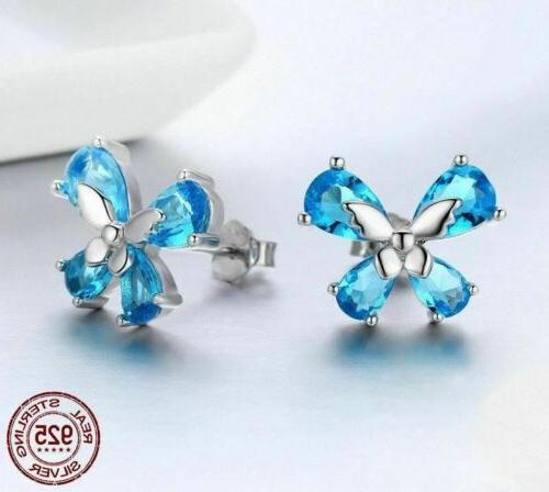 925 Sterling Light Blue CZ Stud Earrings. to 40 Day Delivery