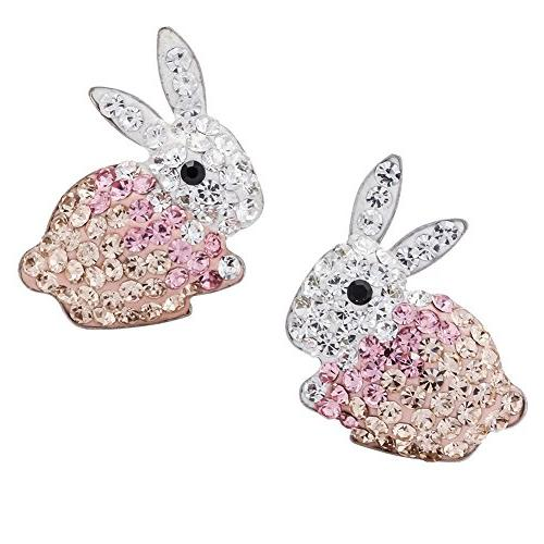 925 sterling silver crystal bunny stud earrings