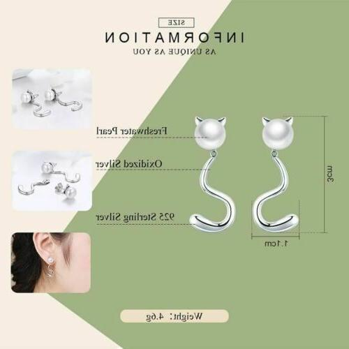 925 Silver Cute Cat Tail Stud 20 To Delivery