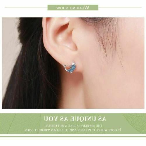 925 Silver Dolphins Stud Earrings Blue Crystal 40 Day Delivery