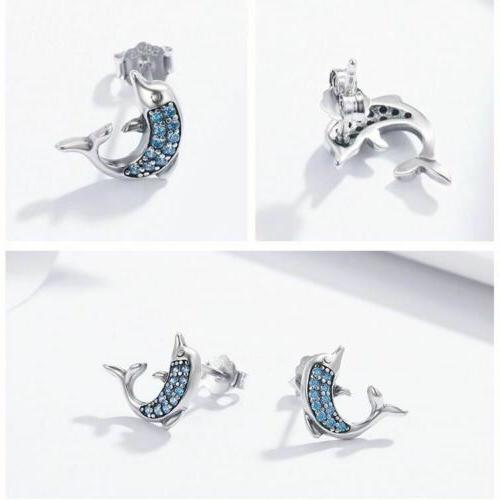 925 Silver Dolphins Stud Crystal To Day