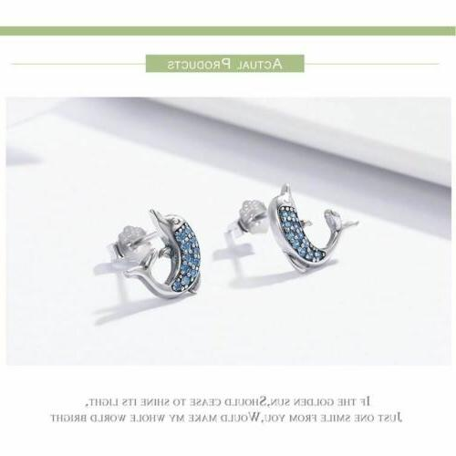 925 Silver Stud Earrings Crystal Day Delivery