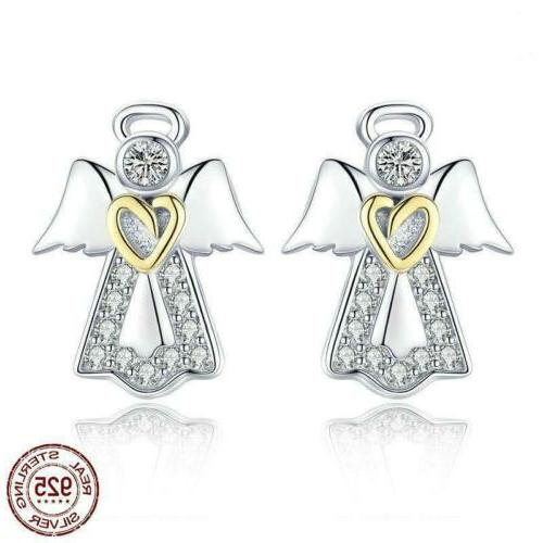 925 sterling silver guardian angel stud earrings