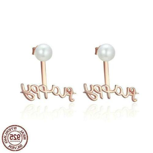 925 sterling silver happy time letter stud