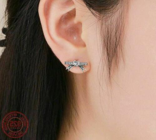 925 Sterling Silver Bowknot CZ Earrings. Day Delivery