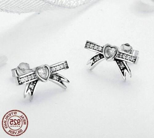 925 Sterling Bowknot Sweet Earrings. 40 Day Delivery