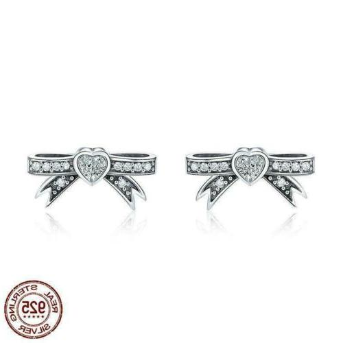 925 sterling silver lovely bowknot cz sweet