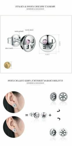 925 Silver Pink Crystals LOVE Small Stud Earrings. 20 / Day Delivery